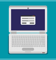 flat laptop isolated on color background vector image