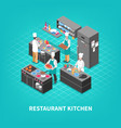 food court kitchen composition vector image vector image