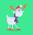 funny cartoon reindeer flat icon vector image vector image