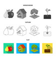 garden farming nature and other web icon in flat vector image vector image