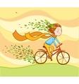 Girl on bike autumn background vector image