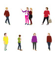 group of people adults and children walking vector image