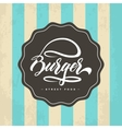 Hand lettering burger food logo design vector image