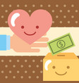 hand with love pouring money into the donate vector image