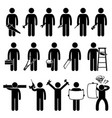 handyman worker using diy work tools stick figure vector image