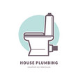 house plumbing promotional logotype with ceramic vector image vector image
