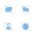 icons with credit cards cash character and coin vector image vector image
