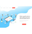 isometric flat landing page template web vector image