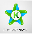 letter k logo symbol in the colorful star on grey vector image vector image