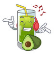 listening music avocado smoothies are isolated on vector image vector image