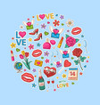 love icon set on a valentin day vector image