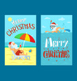 merry christmas santa claus lying on sunbed vector image vector image