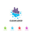 modern city cleaning logo design concept building vector image vector image