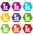 people conversation icons set 9 vector image