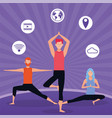 people practicing online exercise for quarantine vector image vector image