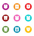 pouch icons set flat style vector image vector image