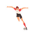 professional soccer player shooting ball quickly vector image