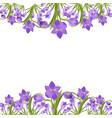 purple crocuses in the snow vector image vector image