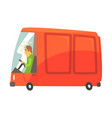 red cartoon cargo van commercial transport vector image vector image