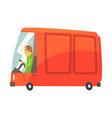 red cartoon cargo van commercial transport vector image