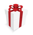red ribbon and white gift box isolated vector image vector image