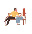 romantic couple sitting on bench and talking cute vector image vector image