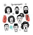 set various surprised women and men mixed age vector image