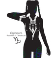 Silhouette of a girl interpretation zodiac sign vector image