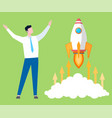 startup project symbol businessman and rocket vector image vector image