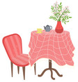 teapot and cup red table and chair room