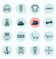 vehicle icons set with railroad trolley way vector image vector image