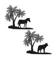 wild animals on black silhouette vector image vector image