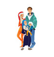winter family portrait with vector image vector image