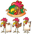 Hen cartoon set vector image