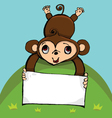 monkey with blank sign with copy space vector image