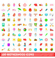 100 motherhood icons set cartoon style vector image vector image