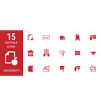15 university icons vector image vector image