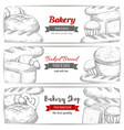 bakery bread and pastry shop sketch banner set vector image vector image