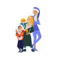 cartoon big family character hugging winter vector image