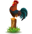 cartoon rooster standing on tree stump vector image vector image