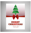 christmas card with tree and red bow vector image vector image