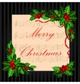 Christmas vintage card with holly vector image vector image