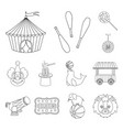 circus and attributes outline icons in set vector image