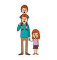 color image caricature dad with boy on his back vector image vector image