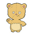 comic cartoon little teddy bear waving vector image vector image