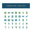 computer hardware icon set with filled outline vector image vector image