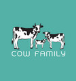 cows family on blue background farm animal easy vector image