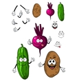 Cucumber potato and beet vegetables vector image vector image
