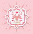 cute pink its a girl deer emblem sticker card vector image