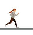 cute sport girl running morning jogging vector image